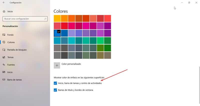 Show accent color on Start, taskbar, and activity center