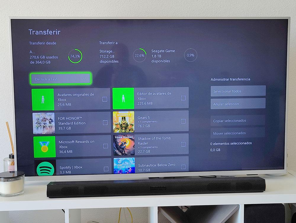 interface transfer games external storage xbox series s on screen