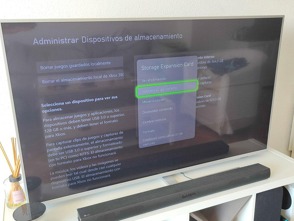 managing the installation destination on xbox series s