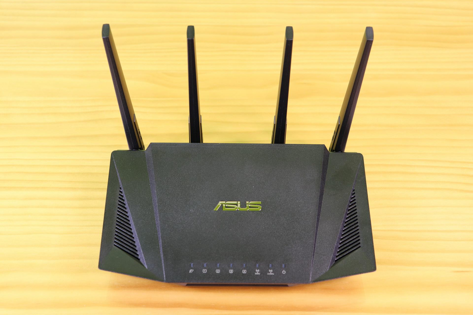 Top area of the ASUS RT-AX58U router in detail