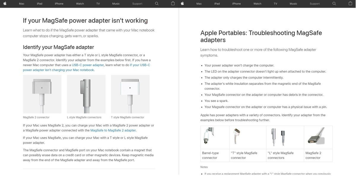 MagSafe support page
