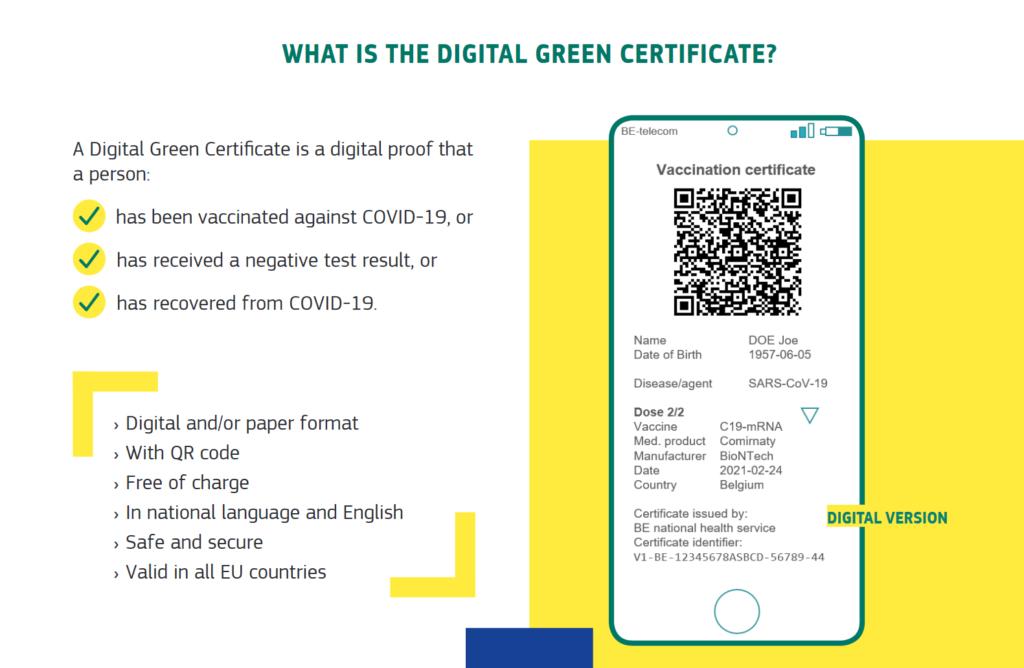 European digital green certificate