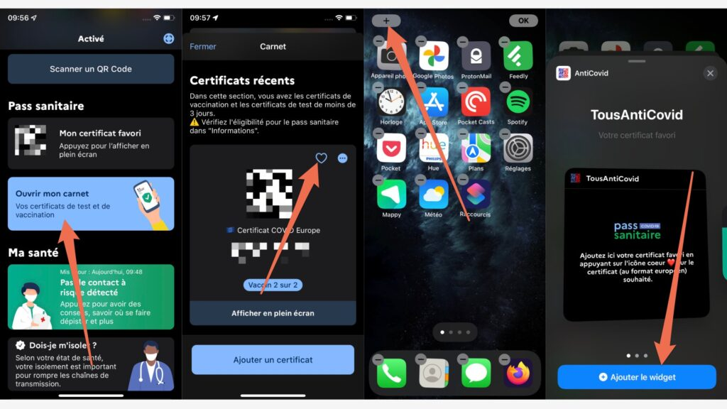 The procedure for adding your health pass as a widget on iPhone