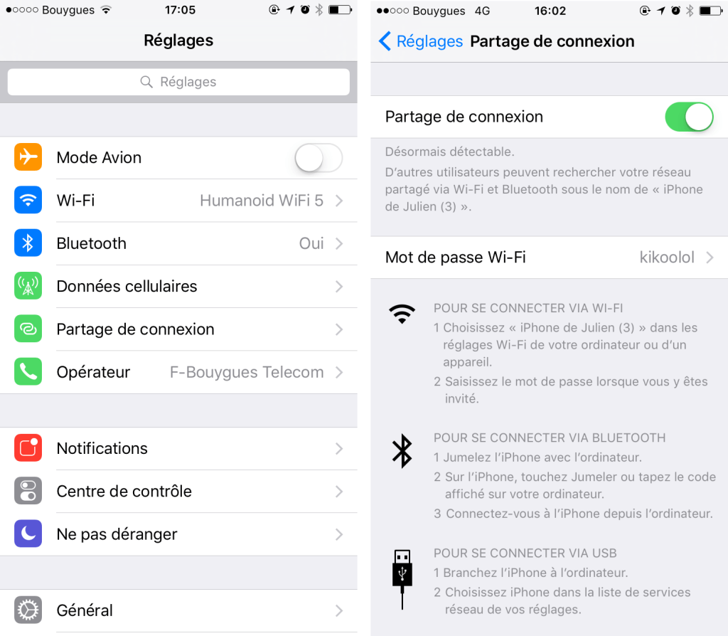 Connection sharing with iOS