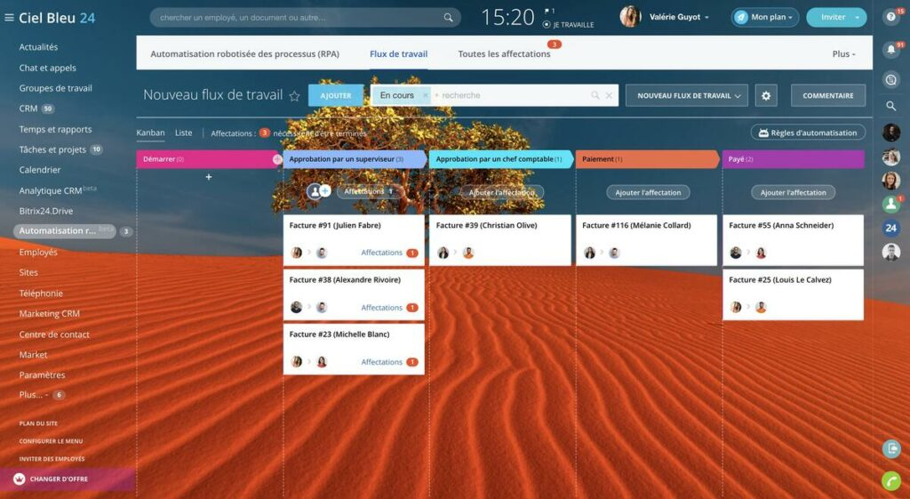 kanban board bitrix24 project management interface