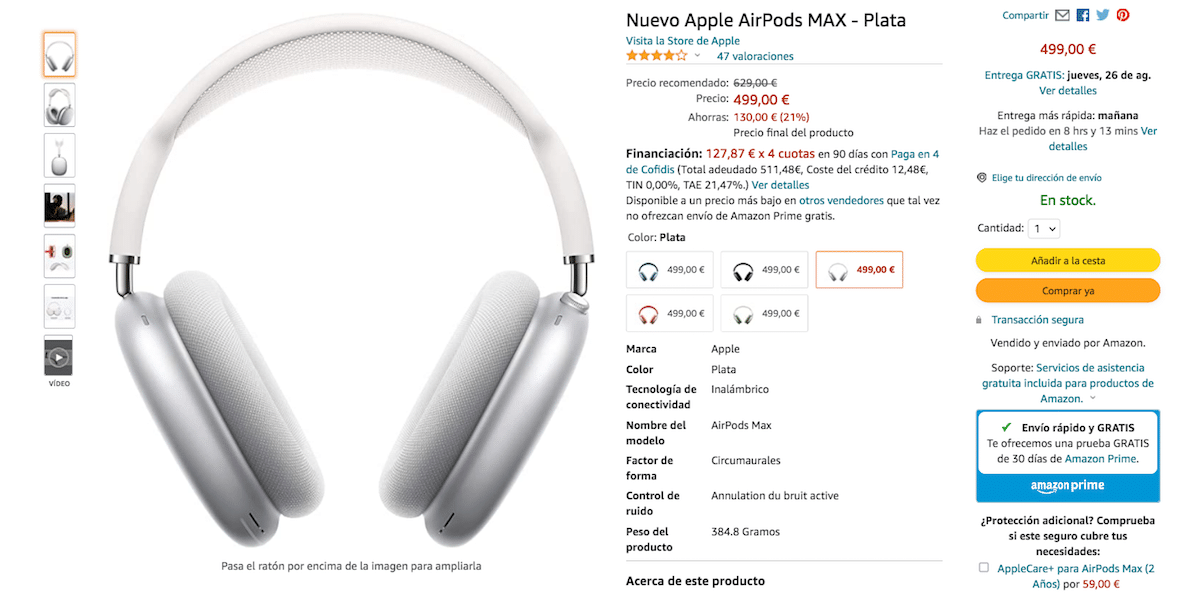 AirPods Max for 499 euros