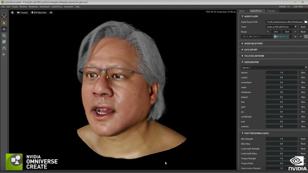 Lip sync performed by AI on Jensen Huang's clone