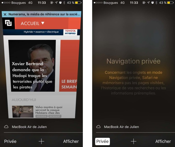Private Browsing - iPhone - Safari
