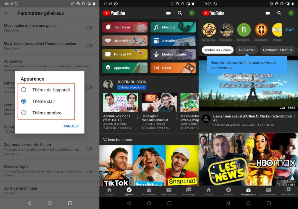 YouTube dark mode Android 2