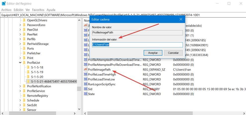 Registry Editor ProfileImagePath value information