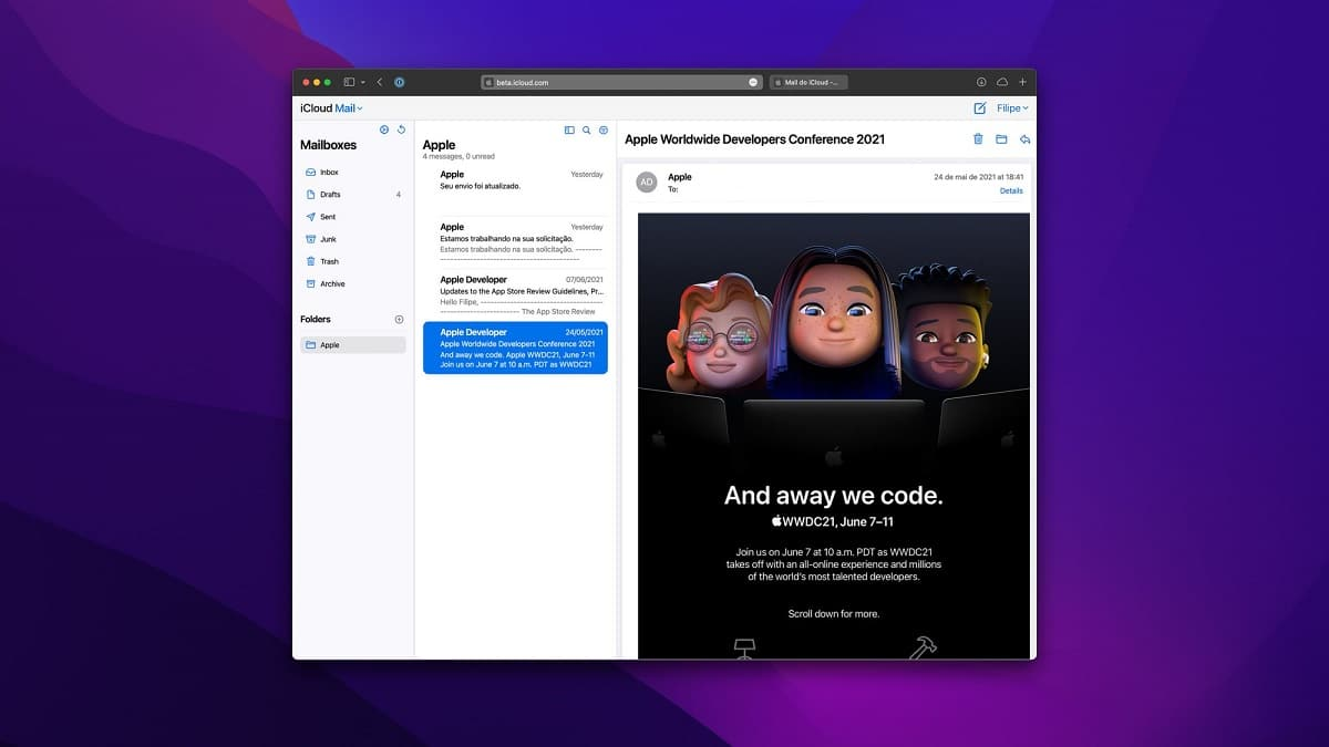 The iCloud Mail web app