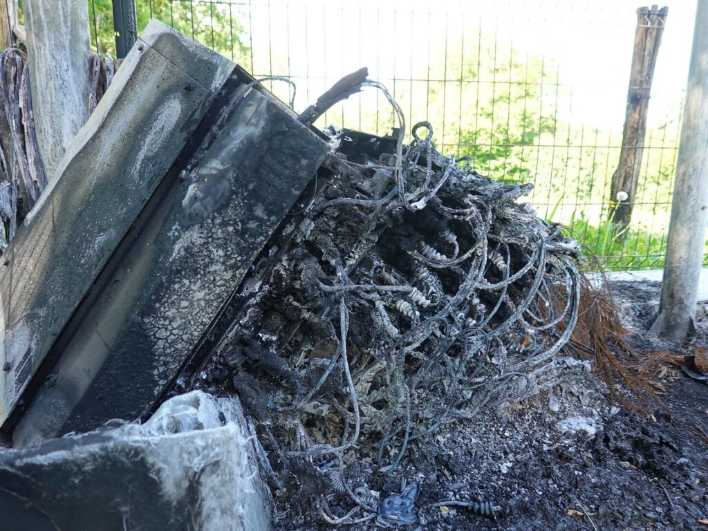telecom equipment destroyed by fire