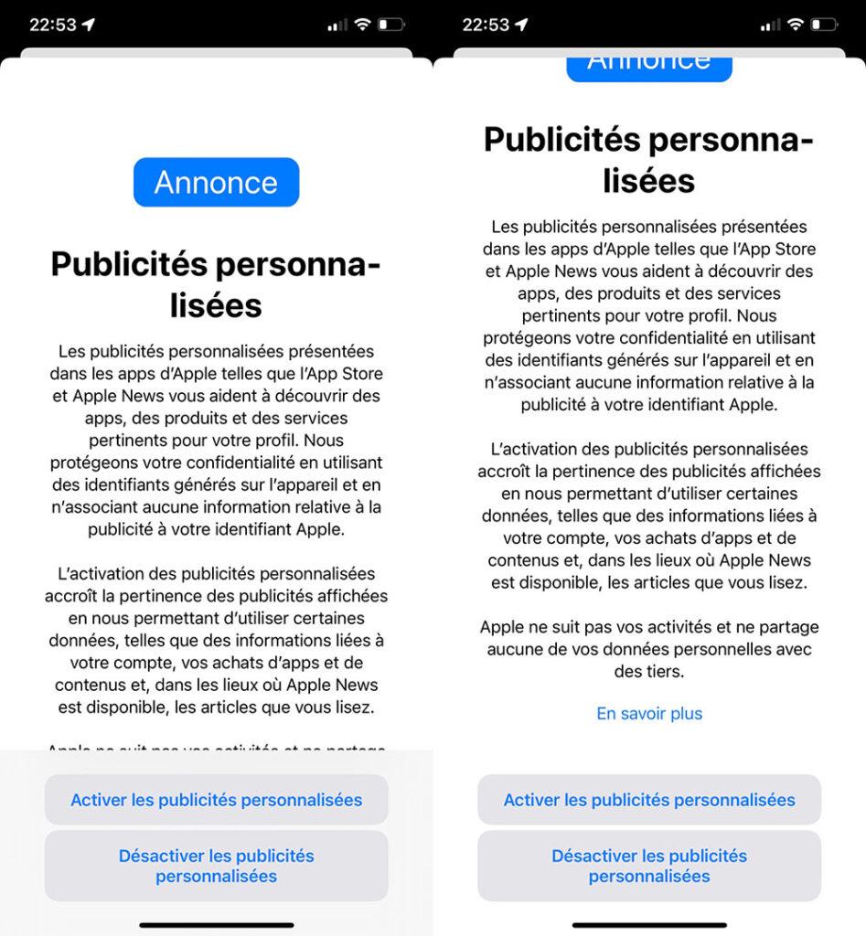 Apple iOS 15 targeted advertising