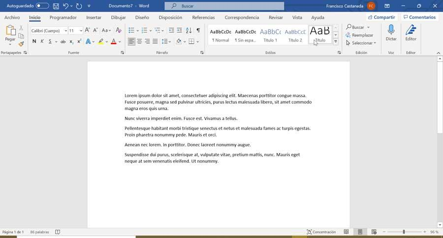 Word automatically generate text in Latin