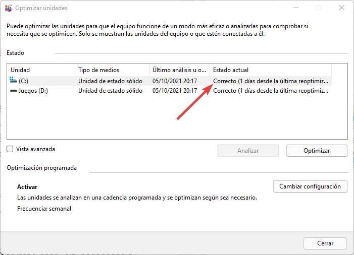 Check SSD hard drive optimization status